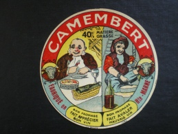 Ancienne étiquette Fromage Neuve : Camembert 52 Haute - Marne  ( Tête De Vache , Humour , Vin ) - Fromage
