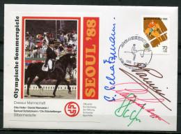 """Signierter OLYMPIA Sonderbeleg Südkorea 1988 """"SEOUL´88-Dressur Mannschaft,Pferdespor,Hor Ses  """" Mit Mi.Nr.1435 """"1 Beleg - Sommer 1988: Seoul"""