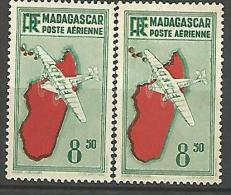 MADAGASCAR PA N� 9 VARIETEE DECALAGE DE COULEUR NEUF* TTB