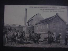 """Superbe carte rare BRACQUEGNIES Soci�t� Coop�rative """"Au progr�s"""" � JOLIMONT Cour de la brasserie ( STREPY LA LOUVIERE )"""