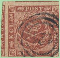 "DEN SC #7 1858 Royal Emblems 3 Margins (2 Jumbo), ""121"" (Kiel) In Conc. Circs., CV $8.50 - 1851-63 (Frederik VII)"
