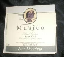THEME CHOUETTE / OWL : ETIQUETTE VIN MUSICO (ITALIE) NEUVE