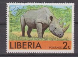 Liberia Gestempeld Used ; Neushoorn, Rhino, Rinoceronte - Rhinozerosse