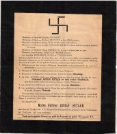 Rouwbrief Rouwomslag 13 mei 1945 WO2 WW2 WWII 2e Wereldoorlog Hitler Hakenkruis Swastika Vianen Bever