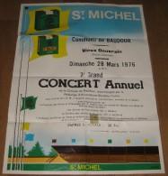 Affiche 71,5 cm x 52 cm, Commune de Baudour, Concert Annuel, chorale, accord�on - Cigarettes St Michel 1976