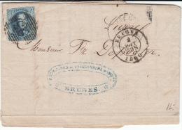 BELGIUM USED COVER 02/08/1860 COB 11A BRUGES VERS LIERRE CADRE LEGEREMENT TOUCHE EN HAUT/GAUCHE - 1858-1862 Médaillons (9/12)
