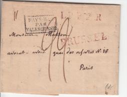 BELGIUM USED COVER 1824 MONS VERS PARIS PAYS-BAS/VALENCIENNES - 1815-1830 (Période Hollandaise)