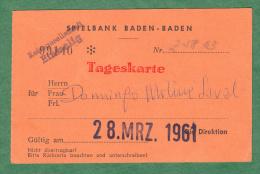 Casino Spielbank Baden Baden - Member Card - 1961 - Baden Baden - Germany - Allemagne - Europe