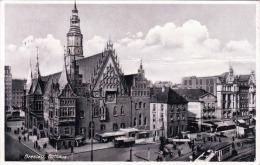 BRESLAU Rathaus Belebte Strassenansicht Gel.1939 Luftpost Reklamestempel - Schlesien