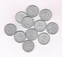 LOT 11 PIECES ALLEMAGNE - DEUTSCHES REICH - 50 REICHSPFENNIG ALU - 50 Reichspfennig