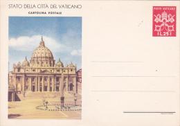 Vatican City 1949 Postal Card Lire 25 Red Basilica  Mint - Vatican