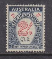 Australi : Queensland, George VI, 1941 TAX INSTALLMENT, 2/=, Unused, No Cancel, Small Trace Of Gum - Revenue Stamps