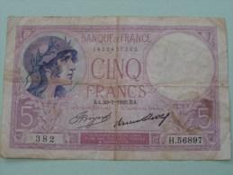 5 Franc - Banque De France 1422407382  EA.20=7=1933.EA.  382  H.56897 ( For Grade, Please See Photo ) ! - 1871-1952 Anciens Francs Circulés Au XXème