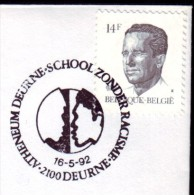 Belgie , Stempel Deurne: Zonder Racisme 1992 - Postmark Collection