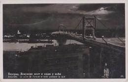 SERBIE,SERBIA,BELGRADE,BE OGRAD,1938,the Night,la Nuit,pont Zemun,éclairé,pleine Lune - Serbie