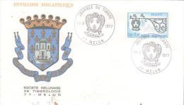 77  MELUN  Journ�e du timbre 1977  Enseigne du relais de poste de Marckholmsheim  26/03/77