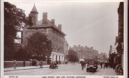 "Old Postcard :  ""High Street & Fire Station, Lewisham""   B/W Real Photo, By Rotary Photo Co - London Suburbs"