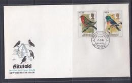 Aitutaki 1984 Birds Definitive, Red-bellied Flycatcher, Red Munia FDC - Sin Clasificación