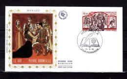 """MONACO FDC En Soie De 1986 """" 350 ANS DE LA 1ère REPRESENTATION DU CID DE CORNEILLE"""" N° YT 1547. Parfait état."""