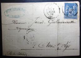 Cachet Type 17 Sur Sage Sur Fragment  --  LILLE  --  NORD  --  LSC  --  1878 - Marcophilie (Lettres)