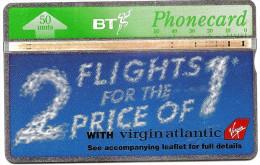 GREAT BRITAIN - BT - Traffic, Flight, Advertising, Virgin Atlantic  - Used Phonecard ( Lot - 614) - United Kingdom