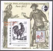 CNEP N° 62 De 2012 - Bloc Autoadhésif (762 A) - Salon D´automne PARIS  - Le COQ DE DECARIS - CNEP