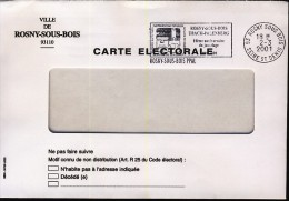 France Envoi De Carte électorale 2001 - Rosny Sous Bois - Elections - 461 - Postmark Collection (Covers)
