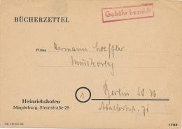 HEINRICHSHOFEN - 1948 , Bücherzettel Nach Berlin - Gebühr Bezahlt - Storia Postale