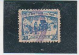 Spain Civil War 1937 Cruzada Stamp Label 10c ´Cruzada Contra El Frio´ Stamp With Soldier Loading Cannon.Used - Vignettes De La Guerre Civile