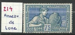 """Variétés YT 214 """" Arts Décoratifs  Potier Bleu """" 1924 Anneau Lune - Varietà E Curiosità"""
