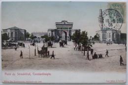 Constantinople (Turquie), Place Du Séraskiérat, Timbre Levant, Carte Postale Ancienne. - Türkei