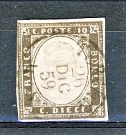 RARITA' Sardegna, IV Em Sassone 14Ae, C. 10 Grigio Brunastro/seppia Grigio Usato (annullo Torino 26/12/859) Firma Biondi - Sardegna
