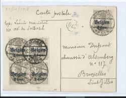 BELGIQUE OCCUPATION ALLEMANDE BLOC DE 4 2 CENT CACHET CENSURE 330 ? BRUSSEL CACHET 22/10/1918 /FREE SHIPPING REGISTERED - WW I