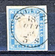 Sardegna, IV Em 1855 Sassone N. 15d , C. 20 Cobalto Latteo Vivace Usato (annullo Saluzzo 18 Ottobre) Cat. € 700 (Diena) - Sardinia