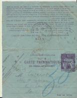 Carte Pneumatique Entier - Postal Stamped Stationery