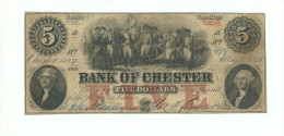 ETATS UNIS - Billet national de 1856 de 5 dollars -5$- Bank of Chester - South Carolina