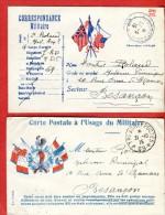 14-18  2 Cartes Privées Franchise Militaire 6 Et 3 Drapeaux Coq Cachets  SP 69 Pour Besançon - 1914-18