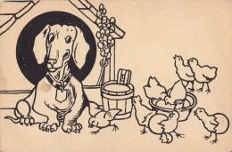 CHIEN [ TECKEL / BASSET ] - CARTE POSTALE ANCIENNE En NOIR / BLANC à COLORIER ! / OLD POSTCARD TO COLOR ! ~ 1910 (q-710) - Chiens
