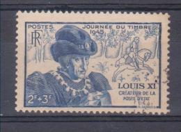 FRANCE / 1945 / Y&T N° 743 : Journée Du Timbre (Louis XI) - Choisi - Cachet Rond - Gebruikt