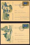 1973  Cartes Postales Couronne Princière  30 Et 40 Rp. Michel P 77-8  Oblitérées Premier Jour - Entiers Postaux