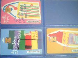 """3  Télécartes """"dessins D'enfants"""",50 U  ,N° 1,3 Et 4 ,1999 - Saisons"""