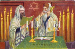 AK JUDAIKA JUDAICA RELIGION Zwei Juden IM GEBET  IMPORT ALTE POSTKARTE - Judaisme
