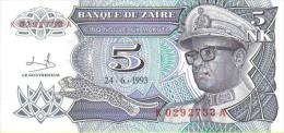 Zaire  Billete Valor 5 Nk 24-06-1993  S/C - Zaire