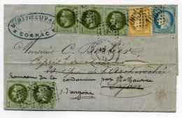 Aff Sept 71 double port / T15 COGNAC + losange GC 1065 sur YT #25 (x5) + YT N#36 + YT N#60 / Dpt Charente / 21 Sept 1871