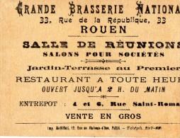 CARTE DE VISITE  GRANDE BRASSERIE NATIONALE  Brewerie   Nine Derieux ROUEN - Cartes De Visite