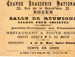 CARTE DE VISITE  GRANDE BRASSERIE NATIONALE  Brewerie   Nine Derieux ROUEN - Visiting Cards