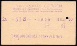 ticket de bus - Transports Citroen -  r�seau de Strasbourg 1950