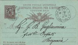 Italien 1889 - 10 Centesimi Ganzsache Auf Pk Von Novara? > Borgosesia? - 1878-00 Humbert I.