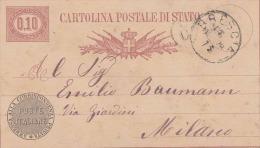 Italien 1878 - 0,10 ? Ganzsache Auf Pk Correspondenza Privata Von Brescia > Milano - Ganzsachen