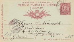 Italien 1892 - 10 C? Ganzsache Auf Pk Von Torino > Geneve - 1878-00 Humbert I.